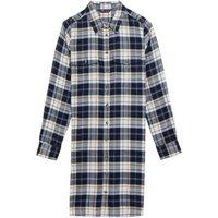 M&S Womens Checked Collared Knee Length Shirt Dress - 6REG - Navy Mix, Navy Mix,Red Mix
