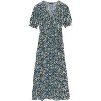 M&S Womens Floral V-Neck Short Sleeve Midi Tea Dress - 6LNG - Multi, Multi