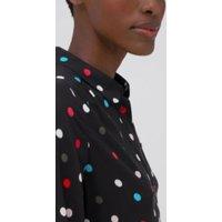 M&S Womens Polka Dot Tie Front Midaxi Shirt Dress - 8LNG - Black Mix, Black Mix