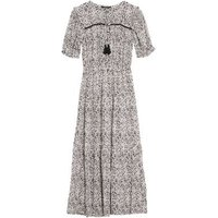 M&S Womens Printed Tie Neck Midaxi Waisted Dress - 8LNG - Ivory Mix, Ivory Mix