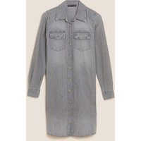 M&S Womens Denim Knee Length Shirt Dress - 6LNG - Grey, Grey,Denim,Black