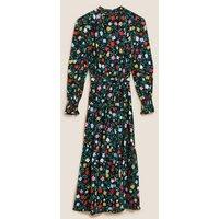M&S Womens Floral Tie Front Midi Tiered Dress - 8LNG - Black Mix, Black Mix