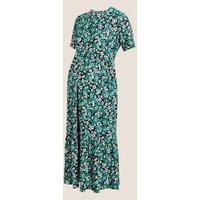 MandS Womens Maternity Jersey Floral Midi Tiered Dress - 6REG - Multi, Multi