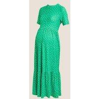 MandS Womens Maternity Jersey Polka Dot Tiered Dress - 6REG - Green Mix, Green Mix