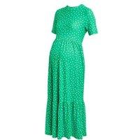 M&S Womens Maternity Jersey Polka Dot Tiered Dress - 6REG - Green Mix, Green Mix