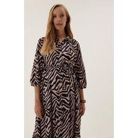 MandS Womens Maternity Animal Print Midi Shirt Dress - 10REG - Pink Mix, Pink Mix