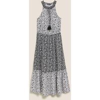 M&S Womens Pure Cotton Floral Midaxi Waisted Dress - 10REG - Black Mix, Black Mix