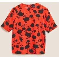 M&S Womens Floral Short Sleeve Top - 6 - Orange Mix, Orange Mix