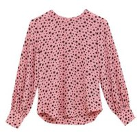 M&S Womens Star Print Round Neck Long Sleeve Blouse - 8 - Pink Mix, Pink Mix