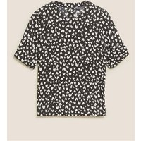 M&S Womens Heart Print Short Sleeve Top - 6 - Black Mix, Black Mix