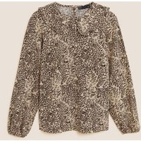 M&S Womens Animal Print Collared Long Sleeve Top - 6 - Brown Mix, Brown Mix