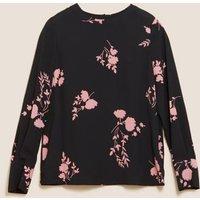 M&S Womens Floral Long Sleeve Top - 8 - Black Mix, Black Mix