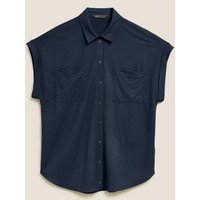M&S Womens Jersey Collared Relaxed Short Sleeve Shirt - 6 - Navy, Navy