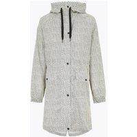 M&S Womens Waterproof Printed Hooded Raincoat - 8 - Cream Mix, Cream Mix