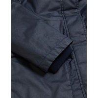 MandS Womens Waxed Faux Fur Lined Parka Coat - 8 - Navy, Navy,Dark Khaki