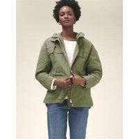 M&S Womens Cotton High Neck Utility Jacket - 24 - Hunter Green, Hunter Green,Vanilla
