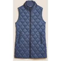 M&S Womens Feather & Down Quilted Hooded Puffer Gilet - 8 - Air Force Blue, Air Force Blue,Mocha