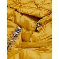 M&S Womens Feather & Down Quilted Puffer Jacket - 8 - Dark Ochre, Dark Ochre,Black