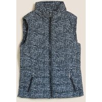 M&S Womens Thermowarmthtm Checked Puffer Gilet - 8 - Black Mix, Black Mix