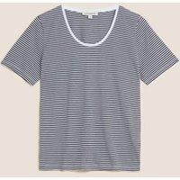 M&S Autograph Womens Pure Tenceltm Striped T-Shirt - 8 - Black Mix, Black Mix
