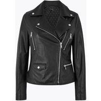M&S Autograph Womens Leather Biker Jacket - 6 - Black, Black