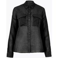 M&S Autograph Womens Ramie Long Sleeve Shirt - 8 - Black, Black