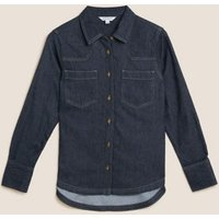M&S Autograph Womens Denim Collared Long Sleeve Shirt - 6 - Indigo, Indigo