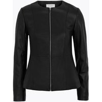 MandS Autograph Womens Leather Collarless Jacket - 6 - Black, Black
