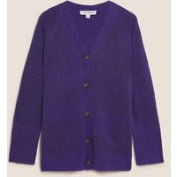 MandS Autograph Womens V-Neck Longline Cardigan with Mohair and Wool - Ultraviolet, Ultraviolet,Spice