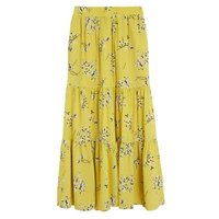MandS Autograph Womens Floral Maxi Tiered Skirt with Linen - 10 - Antique Gold, Antique Gold