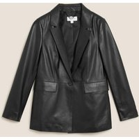 MandS Autograph Womens Leather Single Breasted Blazer - 6 - Black, Black