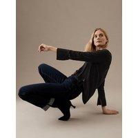M&S Autograph Womens Pure Silk Long Sleeve Shirt - 6 - Black, Black,Ivory