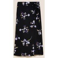 MandS Autograph Womens Floral Midi Wrap Skirt - 8 - Black Mix, Black Mix