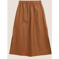 MandS Autograph Womens Leather Midaxi A-Line Skirt - 16 - Cognac, Cognac