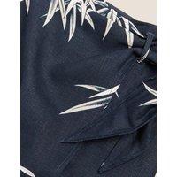 MandS Autograph Womens Linen Floral Midi Wrap Skirt - 10 - Navy Mix, Navy Mix