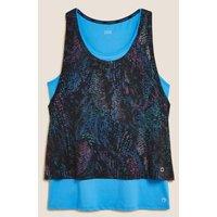 M&S Goodmove Womens Printed Double Layer Vest Top - 8 - Black/Turq, Black/Turq,Green Mix