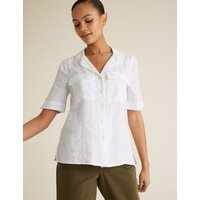 MandS Womens Pure Linen Collared Short Sleeve Shirt - 8 - White, White