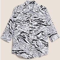 M&S Womens Pure Linen Animal Print Long Sleeve Shirt - 8 - Black Mix, Black Mix