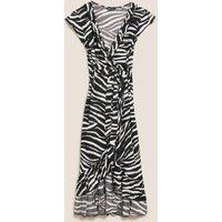 M&S Womens Zebra Print Wrap Midi Beach Dress - 14 - Black Mix, Black Mix