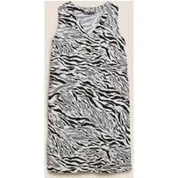 M&S Womens Linen Zebra Print Shift Dress - 8LNG - White Mix, White Mix