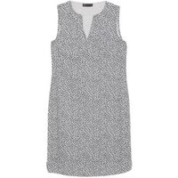 MandS Womens Linen Leaf Print Shift Dress - 8LNG - Ivory Mix, Ivory Mix