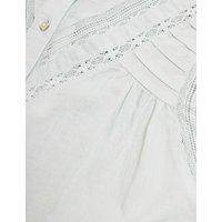 MandS Per Una Womens Pure Cotton Lace Insert Long Sleeve Blouse - 6 - Pale Mint, Pale Mint