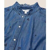 M&S Per Una Womens Tenceltm Denim Embroidered Ruffle Blouse - 16 - Medium Indigo, Medium Indigo