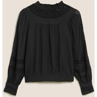 MandS Per Una Womens High Neck Lace Insert Long Sleeve Blouse - 6 - Charcoal, Charcoal