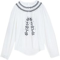 MandS Per Una Womens Embroidered Blouson Sleeve Blouse - 6 - Ivory Mix, Ivory Mix