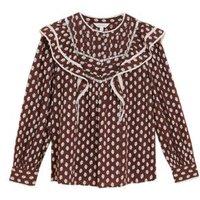 MandS Per Una Womens Pure Cotton Printed Lace Insert Blouse - 6 - Chocolate Mix, Chocolate Mix