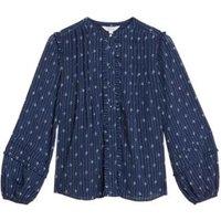 M&S Per Una Womens Sheer Printed Long Sleeve Blouse - 8 - Navy Mix, Navy Mix