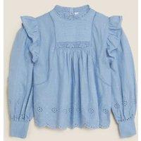 MandS Per Una Womens Pure Cotton Broderie Blouson Sleeve Blouse - 16 - Medium Blue, Medium Blue