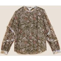 MandS Per Una Womens Floral Ruffle Long Sleeve Blouse - 6 - Khaki Mix, Khaki Mix