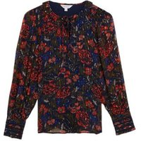 MandS Per Una Womens Floral Tie Neck Ruffle Long Sleeve Blouse - 16 - Navy Mix, Navy Mix